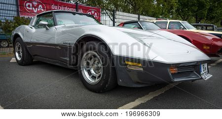 BERLIN - MAY 10 2015: Sports car Chevrolet Corvette Stingray Coupe. 28th Berlin-Brandenburg Oldtimer Day