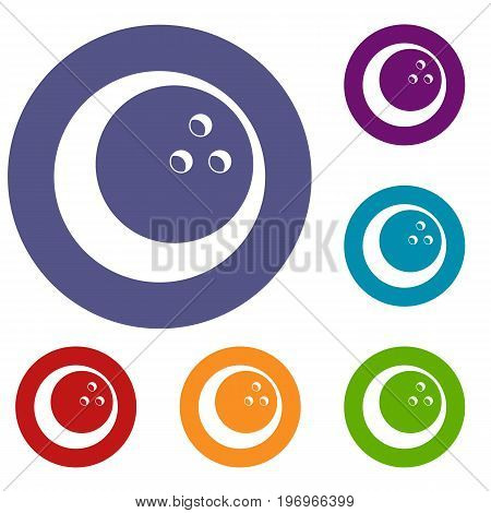 Marbled bowling ball icons set in flat circle red, blue and green color for web