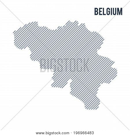 Vector Abstract Hatched Map Of Belgium With Oblique Lines Isolated On A White Background.