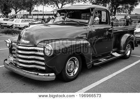 BERLIN - MAY 10 2015: Pickup truck Chevrolet Advance Design (3100) 1948. Black and white. The 28th Berlin-Brandenburg Oldtimer Day