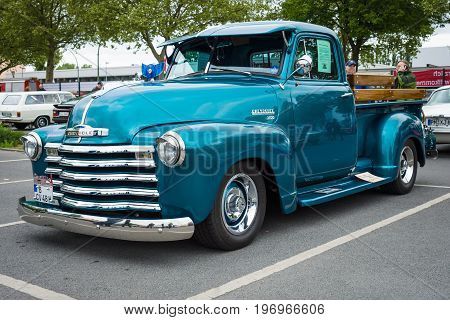 BERLIN - MAY 10 2015: Pickup truck Chevrolet Advance Design (3100) 1948. The 28th Berlin-Brandenburg Oldtimer Day