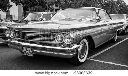 BERLIN - MAY 10 2015: Full-size car Pontiac Bonneville 1960. Black and white. The 28th Berlin-Brandenburg Oldtimer Day