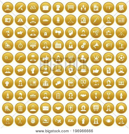 100 team work icons set in gold circle isolated on white vector illustration