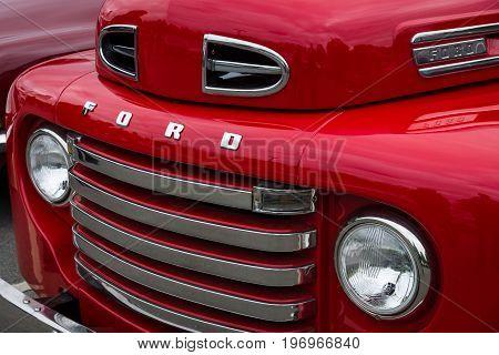 BERLIN - MAY 10 2015: Fragment of a full-size pickup truck Ford F1 (Ford Bonus-Built) 1948. The 28th Berlin-Brandenburg Oldtimer Day
