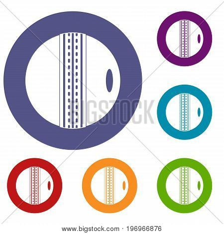Black and white cricket ball icons set in flat circle red, blue and green color for web