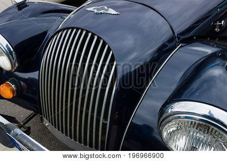 BERLIN - MAY 10 2015: Fragment of a sports car Morgan Plus 8. 28th Berlin-Brandenburg Oldtimer Day