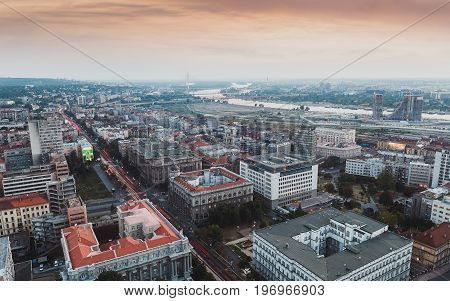 Belgrade, Serbia, July 22, 2017. A view of the old city center, cable-stayed bridge and Belgrade waterfront construction site,  Serbia