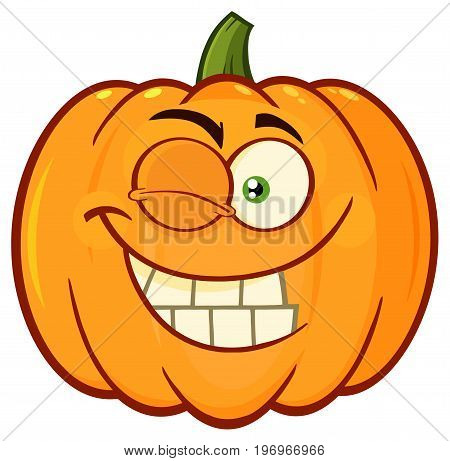 Smiling Orange Pumpkin Vegetables Cartoon Emoji Face Character With Winking Expression. Illustration Isolated On White Background