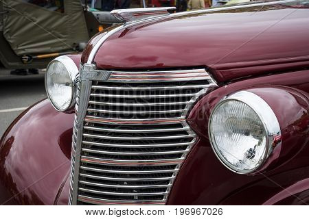 BERLIN - MAY 10 2015: Fragment of a vintage car Chevrolet Master Serie GB Business Coupe. 28th Berlin-Brandenburg Oldtimer Day