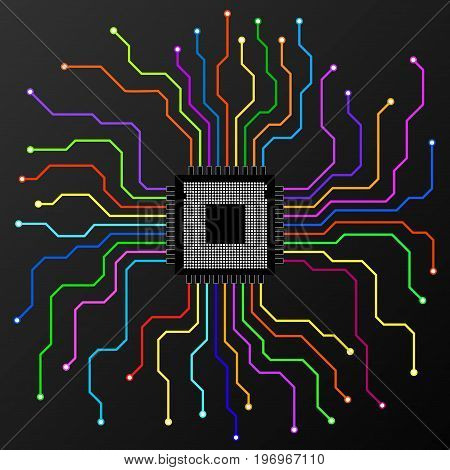 Abstract colorful Cpu. Microprocessor. Microchip. Circuit board. Vector