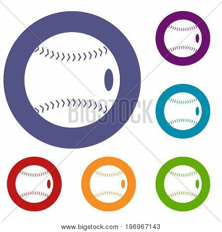 Baseball ball icons set in flat circle red, blue and green color for web