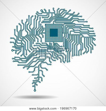 Abstract technological brain. Cpu. Circuit board. Vector