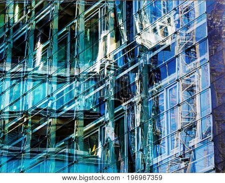 The Reflection in a glass facade of a modern copany headquarters