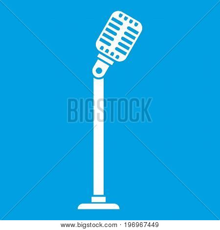 Microphone on stand icon white isolated on blue background vector illustration