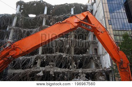 Demolition of a building in the city center