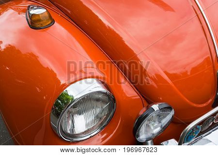 BERLIN - MAY 10 2015: Detail of an economy car Volkswagen Beetle. 28th Berlin-Brandenburg Oldtimer Day