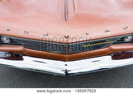 BERLIN - MAY 10 2015: Fragment of a full-size car Pontiac Bonneville 1960. The 28th Berlin-Brandenburg Oldtimer Day