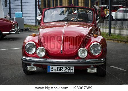 BERLIN - MAY 10 2015: Subcompact economy car Volkswagen Beetle Convertible. 28th Berlin-Brandenburg Oldtimer Day