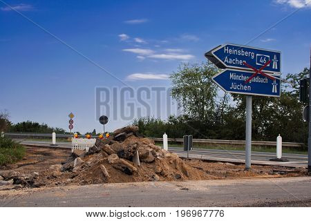 A construction site on the way to a highway near Dusseldorf in Germany