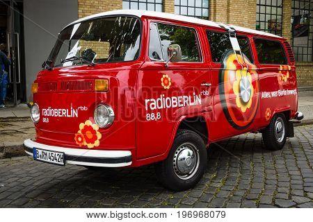 BERLIN - MAY 10 2015: Minibus Volkswagen Type 2 (T2) with radio station advertising RadioBerlin. 28th Berlin-Brandenburg Oldtimer Day