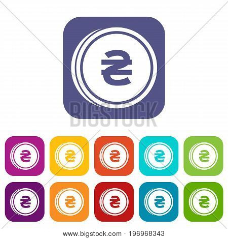 Coin hryvnia icons set vector illustration in flat style in colors red, blue, green, and other