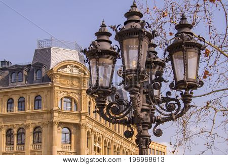 detail perspective of an old building and a lantern