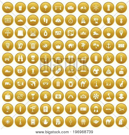 100 tourism icons set in gold circle isolated on white vector illustration
