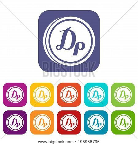 Coin drachma icons set vector illustration in flat style in colors red, blue, green, and other