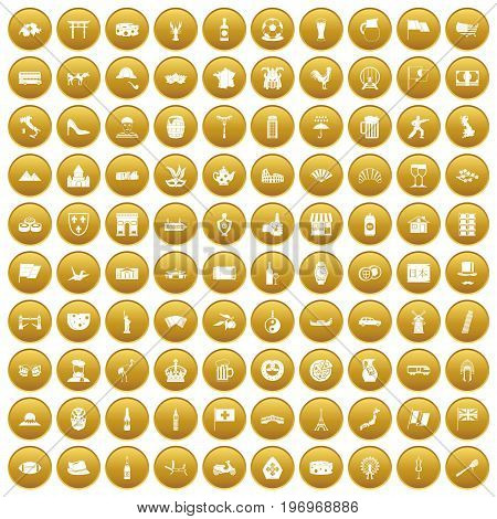 100 tourist attractions icons set in gold circle isolated on white vector illustration