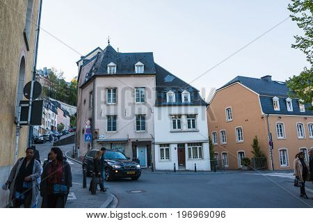 Luxembourg Luxembourg - April 29 2017: Building on the street of Luxembourg in 2017