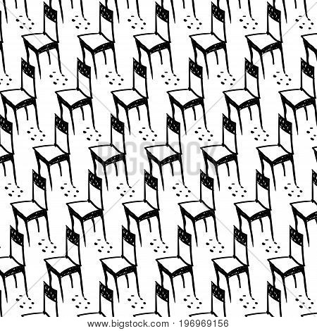 vector seamless pattern with chair in handdrawn style