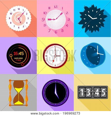 Types of clock icons set. Flat set of 9 types of clock vector icons for web with long shadow