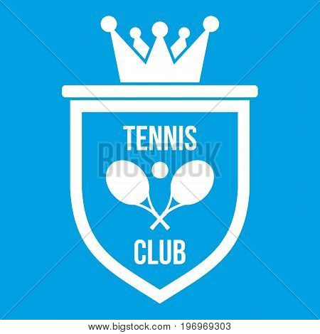 Coat of arms of tennis club icon white isolated on blue background vector illustration