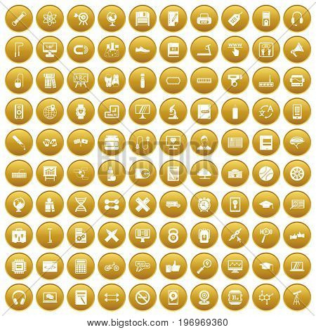 100 training icons set in gold circle isolated on white vector illustration