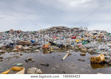 polluted water pond with waste dumping landfill