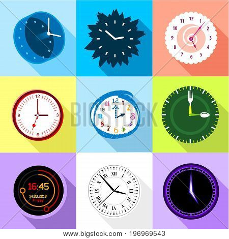 Wall clock icons set. Flat set of 9 wall clock vector icons for web with long shadow