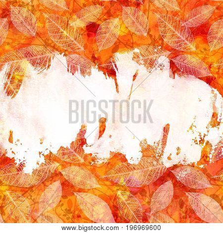 An autumn background texture with vibrant red, yellow, orange, and white painterly brush strokes and leaves silhouettes. An abstract artistic fall frame with a place for text