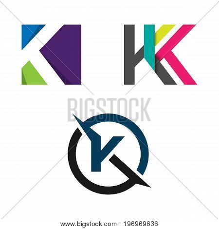 Vector Style K vector logo. Colorful letter K logo vector template. Letter K logo for technology