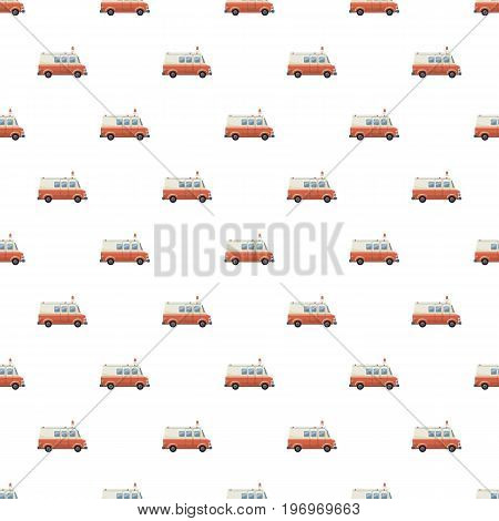 Ambulance car pattern seamless repeat in cartoon style vector illustration