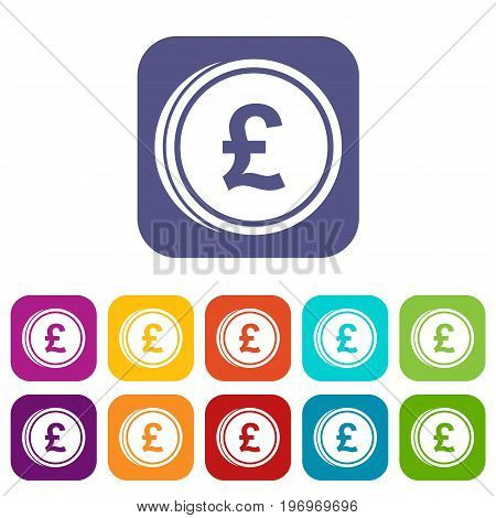 Coins of pound icons set vector illustration in flat style in colors red, blue, green, and other