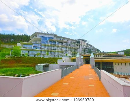 Egerszalok, Hungary - May 05, 2017: The Saliris resort. The Egerszalok spa pools contain water rich in calcium, magnesium, and hydrocarbonate minerals at Egerszalok, Hungary on May 05, 2017.