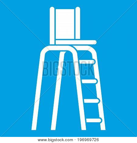 Tennis tower for judges icon white isolated on blue background vector illustration