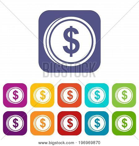 Coin dollar icons set vector illustration in flat style in colors red, blue, green, and other