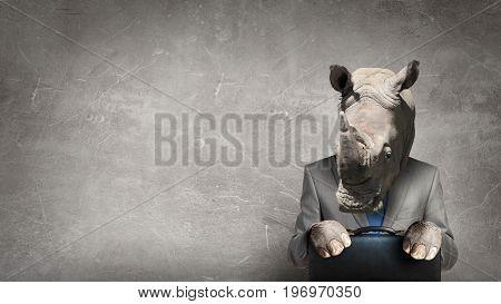 Animal businessman diplomat. Mixed media