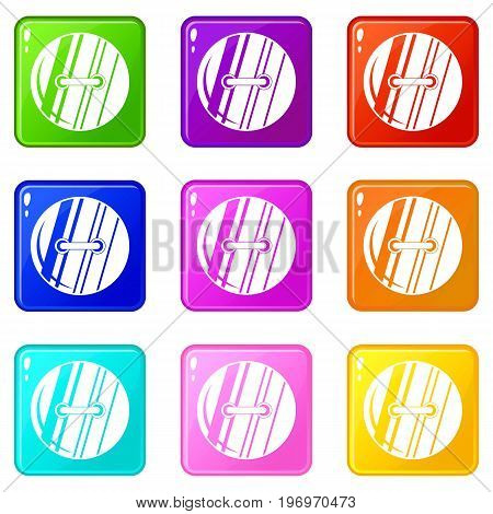 Round sewn button icons of 9 color set isolated vector illustration