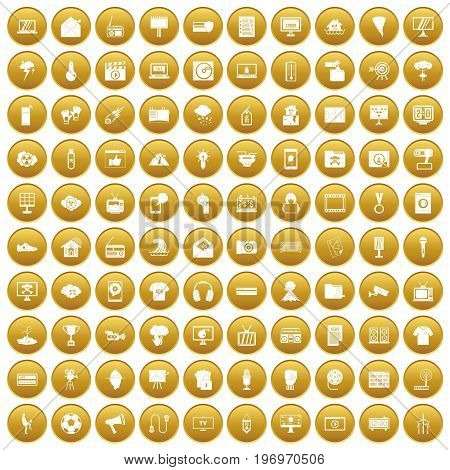 100 TV icons set in gold circle isolated on white vector illustration