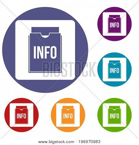 Info folder icons set in flat circle red, blue and green color for web