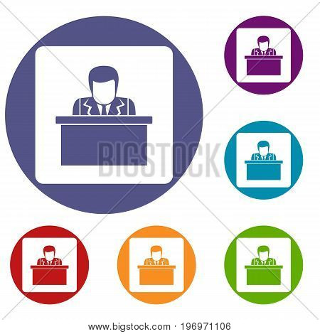 Orator speaking from tribune icons set in flat circle red, blue and green color for web