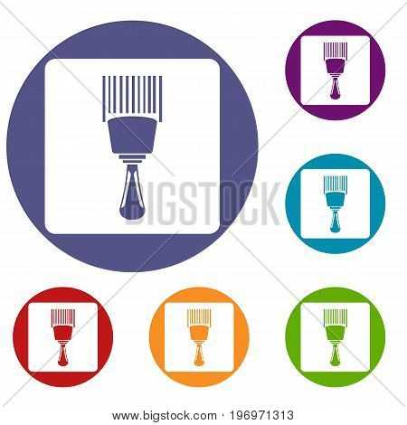 Bar code scanner icons set in flat circle red, blue and green color for web