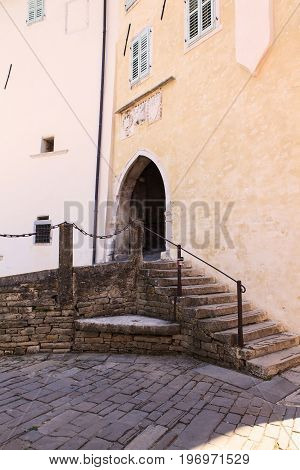 MOTOVUN, CROATIA - JULY, 12: The main Town Gate on July 12, 2017